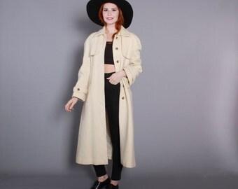 80s Icelandic WOOL COAT / 1980s Belted IVORY Trench Style Minimalist Jacket