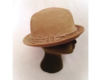 Vintage Tan Corduroy Fedora Hat Reed St James