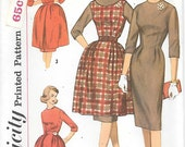 Simplicity 3593 UNCUT 1960s Sheath Dress Jumper and Overskirt Vintage Sewing Pattern Sizes 11 or 14 Wiggle Dress Full Skirt