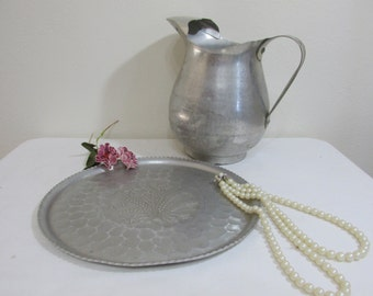 Aluminum Pitcher and Tray