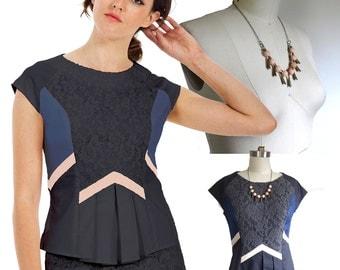 SET / Sale Set / Blouse plus Necklace / Gift Set / Geometric Fashion / Organic / Plus Size / Geometric Fashion / Eco Fashion / Gifts for her