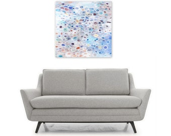 Digital Print, Abstract Painting, Instant Digital Download Reproduction, Square Wall Art, circles periwinkle soft pastel blue purple white