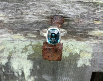 3 Carat Cushion Cut London Blue Topaz Ring in Sterling Silver
