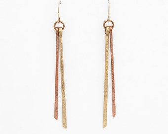 Duplus Earrings, Textured Copper and Brass Sticks