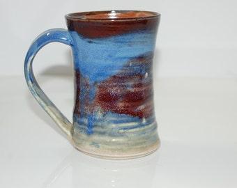 12 oz Mug Ceramic Blue Orange and Red Ceramic Mug Large