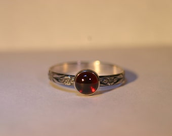 Custom Silver Ring with 6mm Cabochon - 26 Gemstone Choices - Made to Order