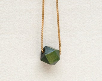 Polyhedron Wood Bead Necklace