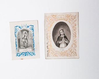 French antique religious prayer cards - Catholic communion cards - Sainte Marie & Saint Henri