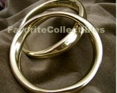80s Brass Bangles Pair High End Designer Style OOAK Sleek High Polish Bracelets from FavoriteCollectibles