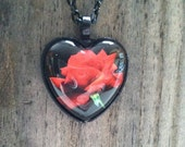"""Red Rose Heart Glass Dome Pendant Tray Necklace 24"""" Rolo Chain Black Finish"""