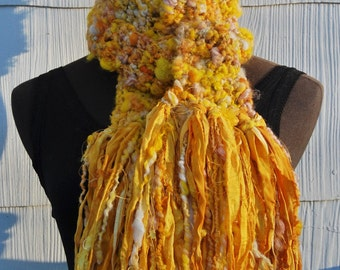 Yellow & Gold Handmade Crochet Scarf One Of A Kind