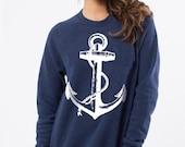 SALE Size Small Navy Blue Anchor Sweatshirt white sweat shirt Nautical beach coast coastal retro pin up Ladies Teen Girl
