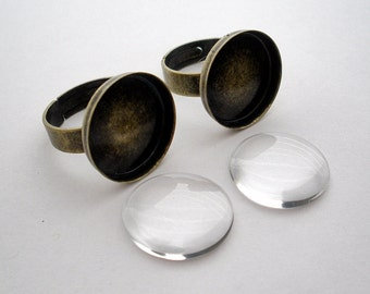 Brass Ring Base with Glass Cabochon Antique Bronze  (5)
