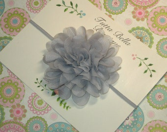 Gray Flower Headband, Silver Grey Chiffon Baby Headband, Baby Hair Bow, Gray Headband, Toddler Headband, Newborn Headband