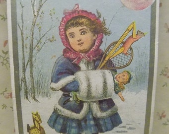 Little Girl with Coat-Hand Muff-Hat-Doll-Toy Horse-Milliner Victorian Trade Card-MA-1800's