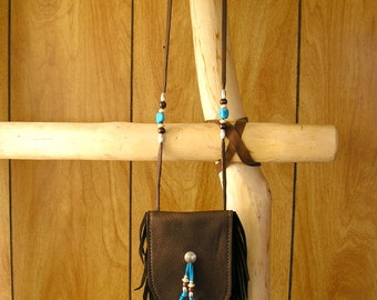 """Southwest Leather pouch - Coco pouch with 36"""" neck cord, velcro fastener, hand cut fringe, and trade beads - inside measurement is 5"""" x 3"""""""