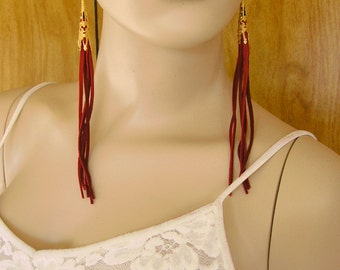 "7.25"" long Red Leather Tassel earrings with Brass Filigree Cones, Czech crystal beadsin red and black and gold tone French hooks"