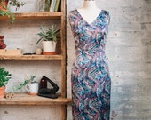 Celine Silk Liberty Print Dress - sheath dress - silk dress -  midi dress - v-neck dress - evening dress - cocktail dress