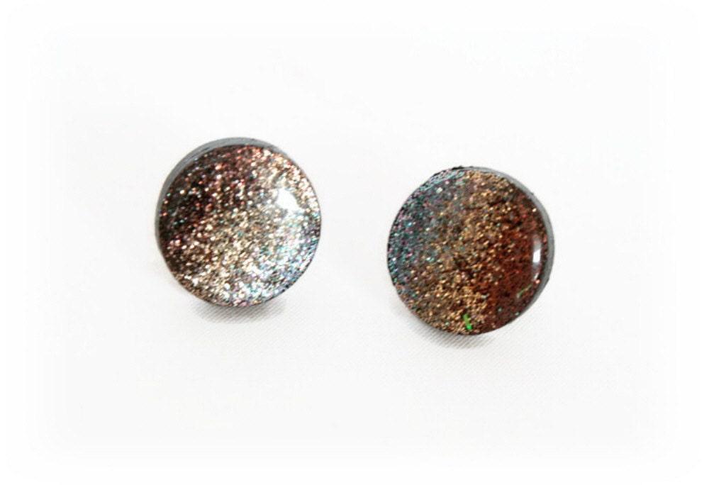 sparkly earrings stud earrings polymer by lottieoflondon