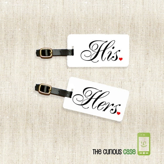 Personalized Luggage Tags His and Hers Luggage Tag Set Personalized Address Message or Quote Printed Full Metal Tags