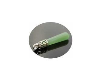 Genuine  Green Aventurine Gemstone  Pendant -  Green Aventurine Crystal Point Silver Pendant