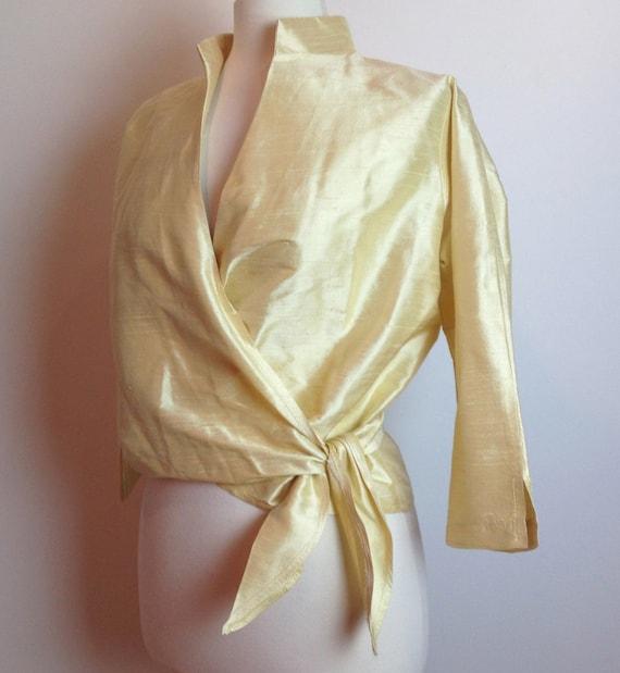 Silk Dupioni Wrap Blouse 46