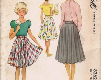 McCall 8362  Size 12  Girls Skirt    Vintage 1950s Sewing Pattern