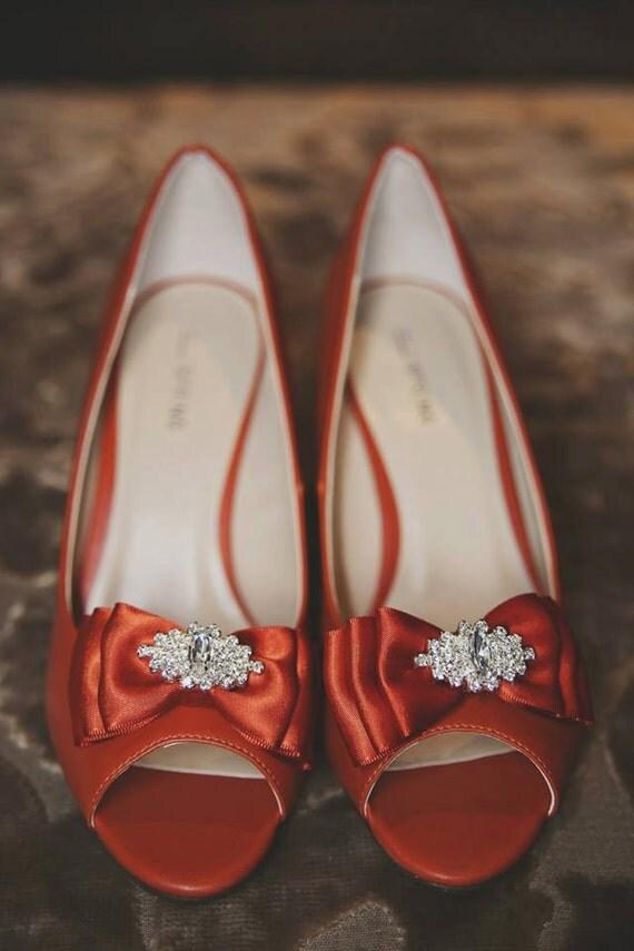 Burnt Orange/ Rust Orange Bow Shoe Clips w/ Sparkly Rhinestone, Weddings, Bridal Shoe Clips, Set of 2 (1 pair), Made in USA