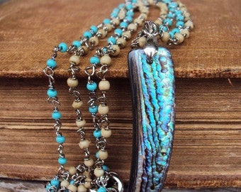 Bohemian Horn Tusk Pendant Necklace Abalone Shell Rondelle Rosary Chain Turquoise Sand Seed Beads Tribal Ethnic STyle