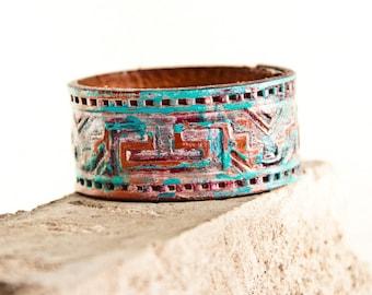Sale Tribal Native Geometric Cuff Leather Bracelet - Turquoise Jewelry Teal Rustic Primitive - Leather Wrist Cuffs