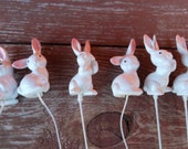 Vintage Lot of 6 Easter Bunny Craft Floral Wire Picks