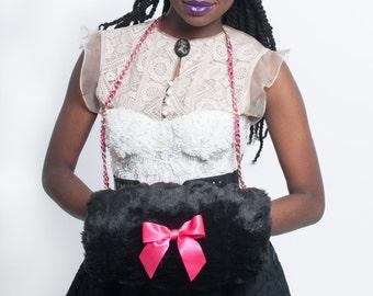 Faux Mink Handwarmer, Black & Pink, Winter Fashion Accessories, Women's Outerwear, Winter Date Wear, Chain Muff, Christmas Fashion