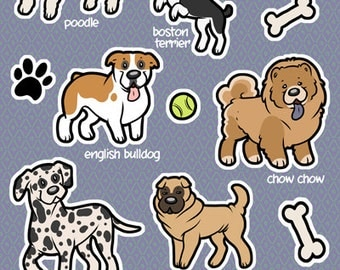 Toy Dog Breed Sticker Sheet Dogs Kiss Cut Vinyl Stickers