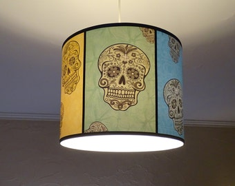 Rainbow Sugar Skulls pendant lamp shade lampshade - lighting, skull, sugar skull ,drum lampshade, calavera, Day of the Dead, mexican decor