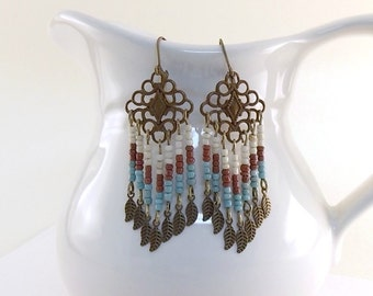 Southwestern Beaded Earrings - Brick Blue and Cream Earrings - Antique Brass Earrings - Leverback Earrings - Brass Earrings - Boho - E057