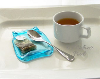 Tea Time Companion, a Melted Mason Jar in Ocean Blue, tea bag holder, spoon rest, soap dish, ring dish, desk dish, pint, gift box included