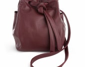 Pouchey - Bordeaux Burgundy Coloured Leather Bucket Messenger Bag With a Long Adjustable Strap