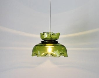 Pendant Lamp, Hanging Pendant Light Made With A Vintage Green Anchor Hocking Chip & Dip Set, OOAK Upcycled BootsNGus Lighting And Home Decor