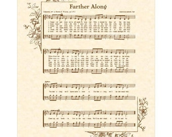 FARTHER ALONG a.k.a. Tempted and Tried - Hymn Art - Custom Christian Home Decor - VintageVerses Sheet Music - Inspirational Wall Art - Sepia