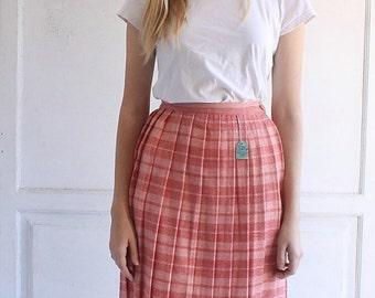 vintage 60s deadstock plaid pleated skirt