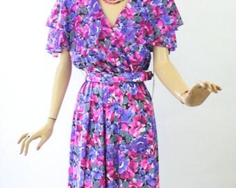 Vintage 80's Floral Dress Pink & Purple Silky Wrap Dress w Original Tags Size 10 Bust 38