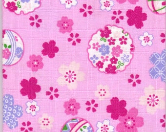 Cherry Blossom and Temari Material - 100% Cotton - 30cm x 50cm (11.8 x 19.7 inches) - Reference 14