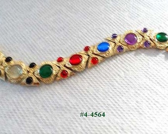 FREE SHIP Multi Color Vintage Cabochon Bracelet (4-4564)