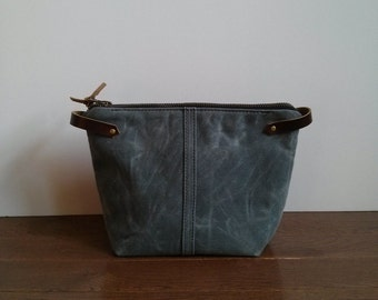 Gray Waxed Canvas, Cordura, and Leather Zipper Pouch