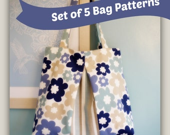 Set of 5 Bag Sewing Patterns by LillyBlossom