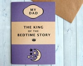 Father's Day Card - Card for Dad - My Dad Card - Happy Father's Day - Classic Book Cover Card - King of the Bedtime Story - Purple (162)