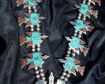 Vintage 1960s Tommy Singer Sterling Silver Turquoise Coral Chips Inlay Waterbird Necklace