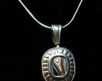 New Sterling Silver Necklace features a Vintage Pendant, Up-Cycled w/ Unique, nearly 60-yr old, Detroit Agate Fordite Cabochon ~mrfeld~ FN17
