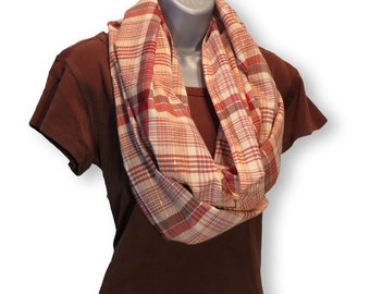 Circle Scarf Cotton Plaid Marsala, Brick, Silver, Eggplant, Natural, Tangerine, Summer Scarf