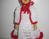 "Crochet Dress and Cape Set fits 6 - 7"" Hitty Dolls Red and White for the Holidays"